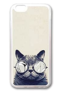 iPhone 6 Cases, Personalized Protective Soft PC Clear Case Cover for New iPhone 6 4.7 inch Glass Grey Cat