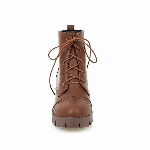 Latasa Womens Warm Faux Leather Lace-up Chunky Ankle-high Chukka Boots Brown fUkO2G