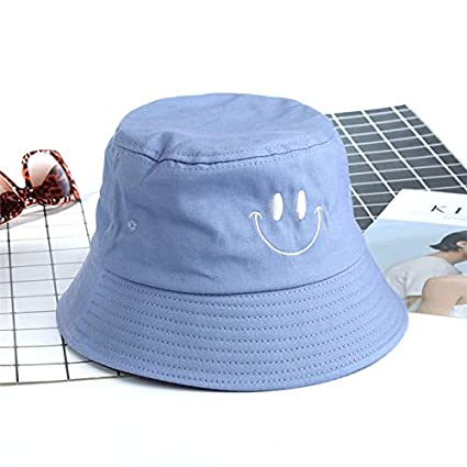 Amazon.com  ForShop Cute Embroidery Smile Face Bucket Hat for Women Men Flat  Fishing Hats Sun Summer Caps Cotton Fisherman Hat  Kitchen   Dining 7fd7f9324a71