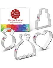 Ann Clark Cookie Cutters Wedding Cookie Cutter Set with Recipe Book - 4 Piece - Wedding Dress, Wedding Cake, Diamond Ring and Heart - USA Made Steel
