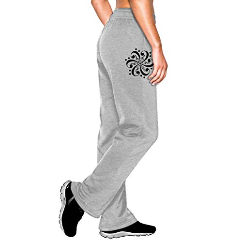 Womens Jogger Sweatpants Bass Clef Flower Tattoo Casual Stretch Cotton Lounge Pants Gray -