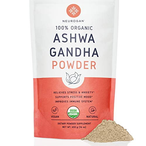 Neurogan Organic Ashwagandha Root Powder (1 lb) - 100% Raw From India & USDA Organic - All Natural Superfood for Improved Mood, Vitality, Adrenal Health & Anxiety Relief - Vegan, Non-GMO, Gluten-Free ()