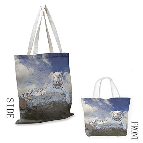 - Handbag or crossbody messenger bag Tiger Bengal Hunter Surveying What is Beneath It from Top White Large Feline Washable tote 16.5