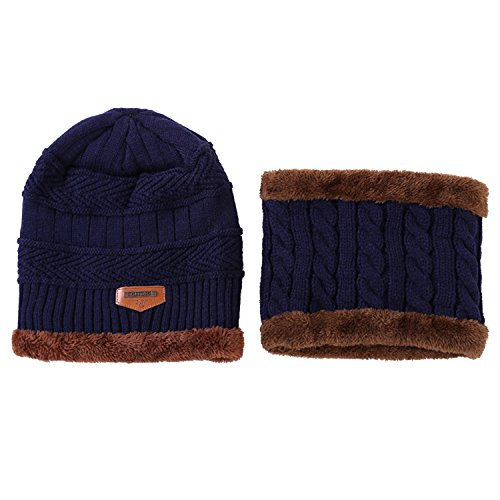 Fashion Winter Fleece Scarf - 2-Pieces Winter Knit Hat and Circle Scarf with Fleece Lining, Warm Beanie Cap for Women (Navy Blue)