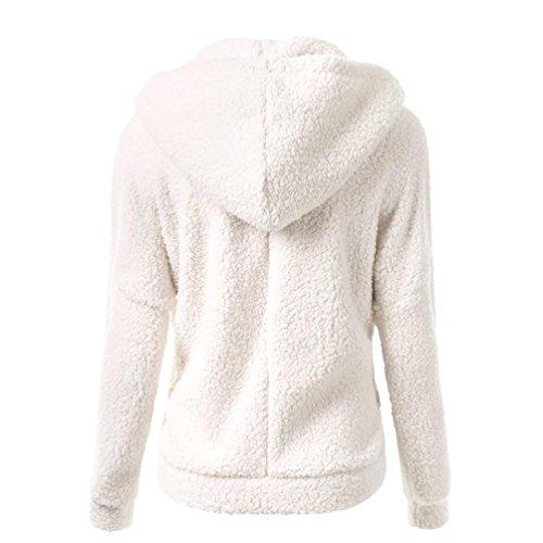 inverno caldo maglione cappotto Donna donne outwear cappotto Felpa Hooded cerniera feiXIANG cotone con lana cappuccio Bianco xgqUnYwz8