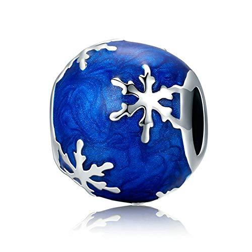 HSUMING 925 Sterling Silver Blue Enamel Snowflake Pattern Spherical Charms Bead Fits Pandora Bracelets