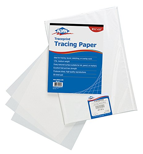 Alvin 6811P-3 Traceprint Tracing Paper 50-Sheet Pad 11 inches x 17 inches