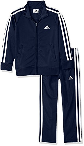 adidas Boys' Little Tricot Jacket & Pant Clothing Set, Collegiate Navy, 6 (Adidas Track Pants For Boys)