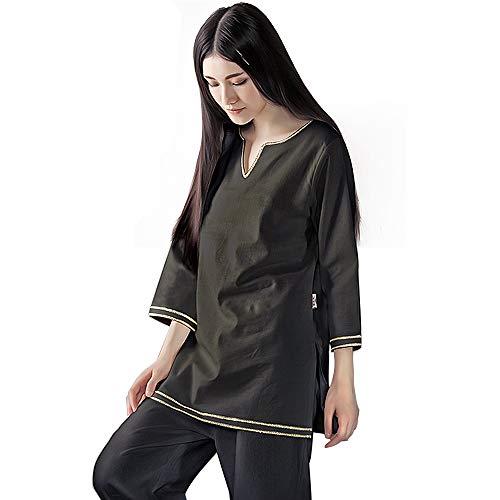 KSUA Womens Zen Meditation Suit Tai Chi Uniform Kung Fu Clothing (Black, US XL)