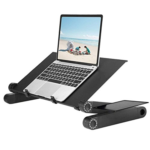 AUSPT Adjustable Laptop Stand for Bed Computer Table Desk for Laptop Folding Laptop Desk Breathable Ventilation Lapdesk with Mouse Pad Side Mount Light Weight | Ergonomic Bed Lap Tray by AUSPT