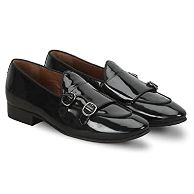 Brune Strap Monk Shoes for Men - Black