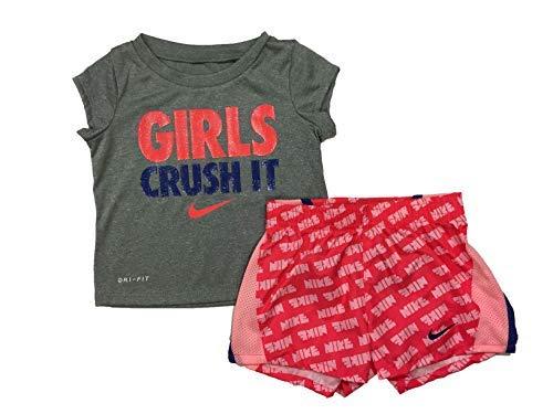 Nike Infant Girls T-Shirt and Shorts Set Ember Glow, Ember Glow(16e430-r26)/Max Orange, 24 Months (Nike Girls Clothing)