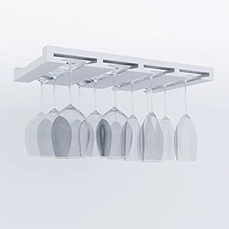 Artifact Design Wine Glass Rack Makes Dull Kitchens Or Bar Looks Great Perfectly Fits 6 12 Glasses Under Cabinet Easy To Install With Included Screws Great Hanging Bar Glass Rack White