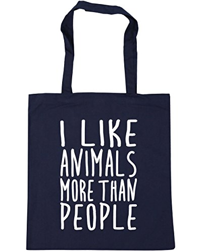 HippoWarehouse bolsa al hombro, para la compra, bolsa de playa con mensaje en inglés I like animals more than people, 42cm x 38cm, 10litros azul marino