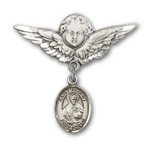Icecarats Créatrice De Bijoux En Argent Sterling St. Albert Le Grand Ange De Charme Broche De Badge 1 1/8 X 1 1/8
