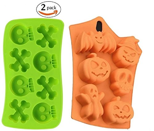 Halloween Jello Molds (Set of 2 Silicone Halloween Candy / Ice Molds - Party Supplies with Pumpkins Skulls Crossbones Ghosts Bats (Random Colors Sent) by Jolly Jon)
