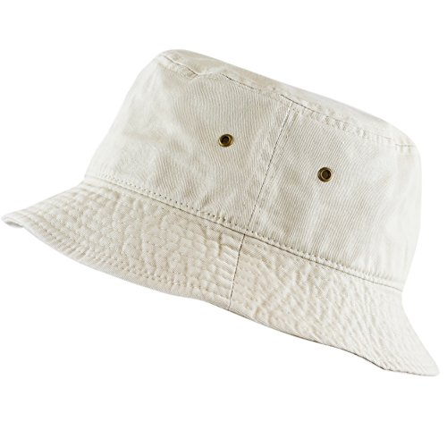 The Hat Depot 300N Unisex 100% Cotton Packable Summer Travel Bucket Hat (S/M, Putty) -