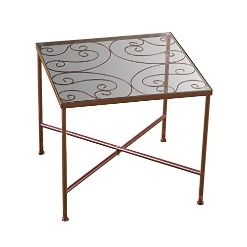 Collections Etc Glass Top Metal Scroll Garden Patio Accent Side Table - Glass Top Scroll