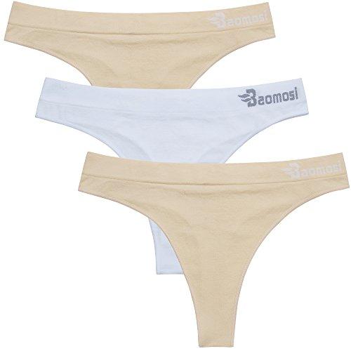 BAOMOSI Women's Seamless Thong Panties Sexy Breathable Bikini Panty Nylon Spandex Thong Underwear, 2 X Beige+white, Medium