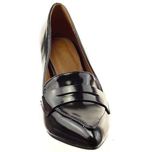 Sopily - damen Mode Schuhe Pumpe Stiletto Fertig Steppnähte - Schwarz