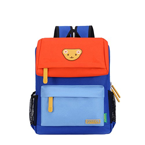 Willikiva Cute Bear Kids School Backpack for Children Elementary School Bags Girls Boys Bookbags (Orange/Wathet Blue/Azure, Medium) - Kid Book Bag