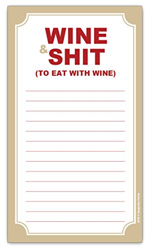 Wine and Shit Funny Magnetic Grocery List - Housewarming Wine Gift for Birthday, Friend Celebration