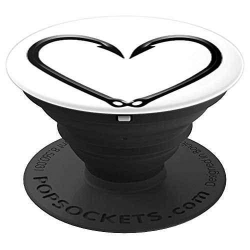 - Fishing Fish Hook Heart - PopSockets Grip and Stand for Phones and Tablets