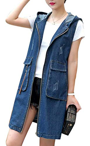 MK988 Womens Embroidery Fringes Hooded Casual Sleeveless Sleeveless Denim Vest Waistcoat Jacket Gilet 1 S ()