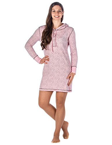 Cotton Thermal Sleepshirt (Womens Waffle Knit Thermal Sleep Hoodie - Floral - Pink - Medium)