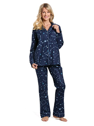 Flannel Pajamas For Women - Noble Mount Women's Cotton Flannel Pajama Set - Constellations Blue - X-Large