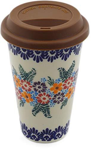 (Polish Pottery Travel Coffee Mug (Confetti Flowers Theme) Signature UNIKAT + Certificate of Authenticity)