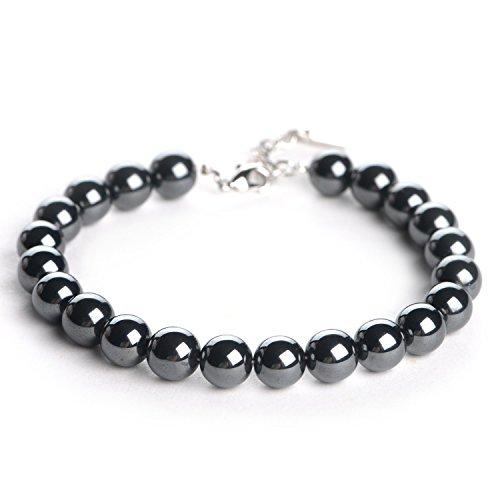 iSTONE Natural Black Hematite Gemstone 8mm Round Beads Stretch Bracelet 7