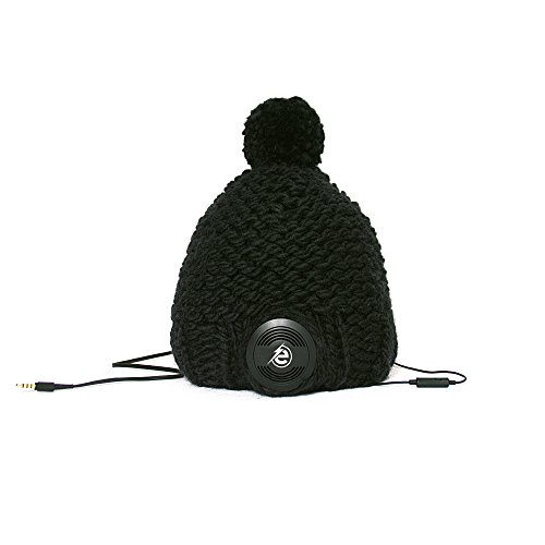 Earebel Black Hand Knitted Bobble Hat Beanie with Built-In Black AKG Headphones, Blackface by Earebel powered by AKG