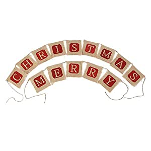 MERRY CHRISTMAS Letters Hanging Burlap Banner Holiday Party Decoration Bunting