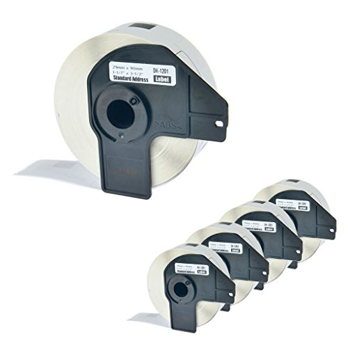 NineLeaf DK-1201 (5 Roll) Paper Tape Standard Address Labels Compatible with Brother DK1201 P-Touch QL-1050 QL-500 Printers 1-1/7 Inches (29mm) 90mm (3-1/2''),with Snap-On-Frame