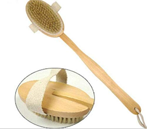 Rubinson-store Dry Skin Bath Brush Boar Bristle with Detachable Long Handle Bath Back Scrubber - Anti Cellulite - Dry Skin Brushing erre