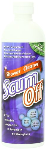 Scum Off Shower Cleaner for Hard Water, 16 fl.oz, Cleans Fiberglass, Tile, Grout, Stone, Porcelain, Acrylic, Hard Water Spots, Calcium & Mineral Deposits, Soap Film, Mold & Mildew, No Harsh Chemicals