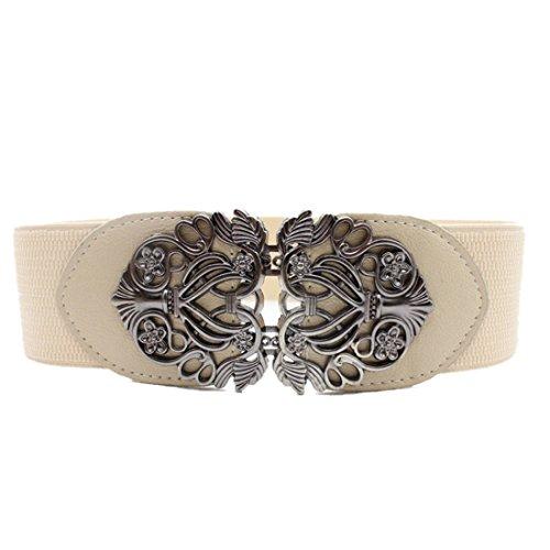 Voberry Women's Vintage Wide Elastic Stretch Metal Buckle Waist Belt Waistband -