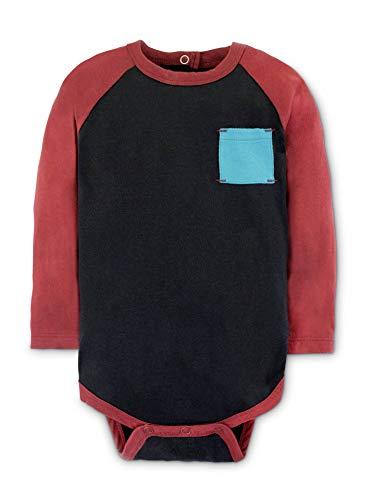 Colored Organics Baby Boy Organic Cotton Breck Baseball Bodysuit - Long Sleeve Infant Onesie - Black/Garnet - 18-24M
