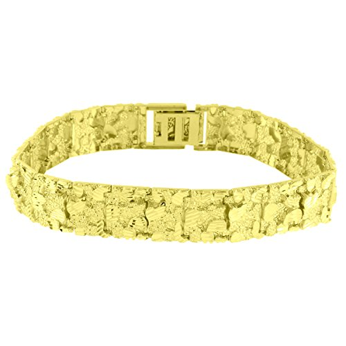 Nugget Link Designer Bracelet 10K Real Yellow Gold High End Custom Style 16mm New by Master Of Bling