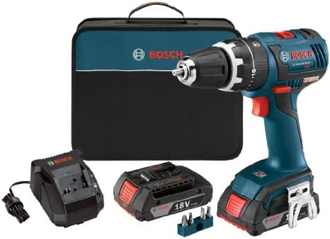 Bosch HDS182-02 18-volt Brushless 1 2-Inch Compact Tough Hammer Drill Driver with 2.0Ah Batteries, Charger and Case