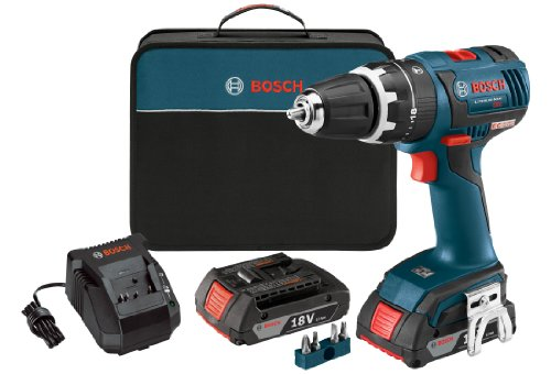 Bosch Cordless Hammer Drill (Bosch HDS182-02 18-volt Brushless 1/2-Inch Compact Tough Hammer Drill/Driver with 2.0Ah Batteries, Charger and Case)