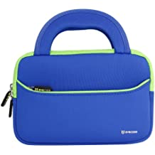 Evecase Ultra-Portable Neoprene Zipper Carrying Case with Accessory Pocket for 7 - 8 -Inch Tablet - Blue / Green