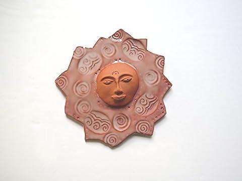 Terracotta 3rd eye ceramic sun wall art -7 inch wall sculpture