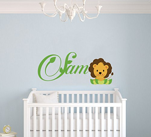 Personalized Name Lion Nursery - Baby Girl Boy Decoration - Mural Wall Decal Sticker For Home Interior Decoration Car Laptop (M381) (Wide 22