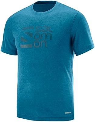 SALOMON L40110400 M Camisa y Camiseta Cuello Redondo Manga Corta Poliéster - Camisas y Camisetas (Camiseta, Adulto, Masculino, Azul, Imagen, M): Amazon.es: Deportes y aire libre