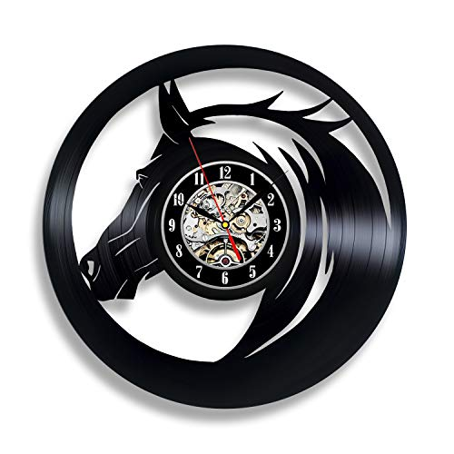 Handmade Solutions EU Black Horse Vinyl Wall Clock Galloping Racing Horse Ornaments Art Party Decor Modern Love Gifts for Men Women Room Bedroom Personalised Accessories