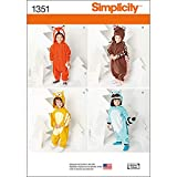 Simplicity Creative Patterns 1351 Toddlers' Animal Costumes Sewing Patterns, Size A (1/2-1-2-3-4)
