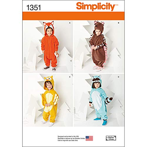 - Simplicity 1351 Toddler Animal Onesie Clothing Sewing Patterns, Sizes 1-4