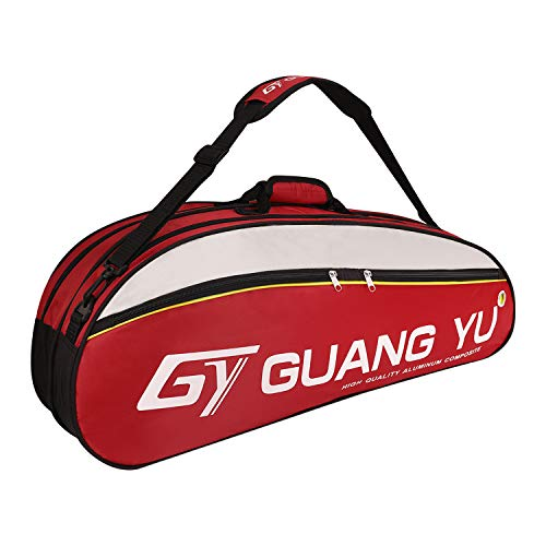 (6 Racquet Tennis Bag Single Shoulder Badminton Squash Racket Bag Large Gym Equipment Bag Racquetball Pack Sport Duffel Bag Carry Bag with Shoes Storage,Unisex Design for Men, Women, Youth and Adults)